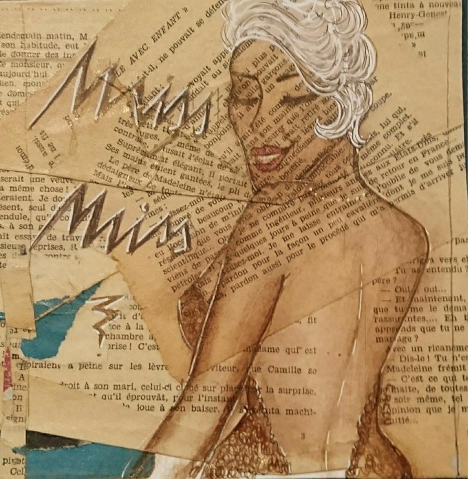 Miss Miss    15x15cm    Vendu oeuvre sur papier