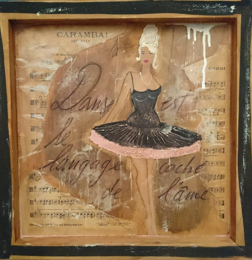 Mademoiselle Danse 35x35cm. Vendu cadre bois